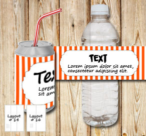 Orange and white striped bottle labels with a frame...  | Free printable bottle wrapper