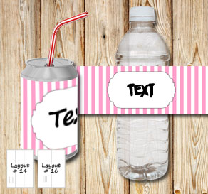 Light pink and white striped bottle labels with a s...  | Free printable bottle wrapper
