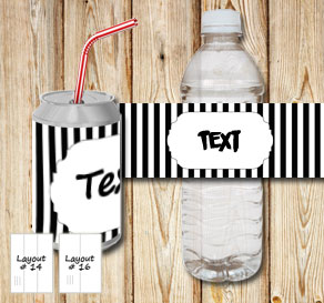 Black and white striped bottle labels with a small ...  | Free printable bottle wrapper