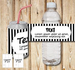 Black and white striped bottle labels with a frame ...  | Free printable bottle wrapper