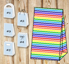 Gift bag with a rainbow chevron pattern  | Free printable gift bag
