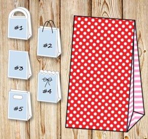 Red gift bag with white dots and light pink striped...  | Free printable gift bag