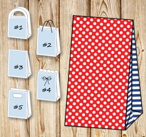 Red gift bag with white dots and dark blue striped ...  | Free printable gift bag