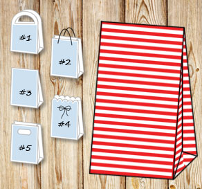 Red and white striped gift bag  | Free printable gift bag