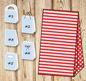Red and white striped gift bag with dotted sides  | Free printable gift bag