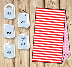 Red and white striped gift bag with light pink dott...  | Free printable gift bag