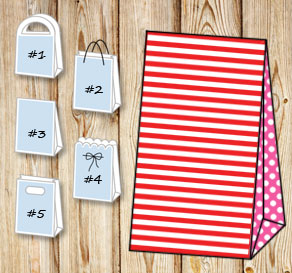 Red and white striped gift bag with pink dotted sides  | Free printable gift bag