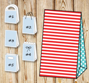 Red and white striped gift bag with turquoise dotte...  | Free printable gift bag