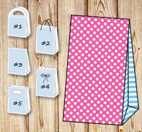 Pink gift bag with white dots and light blue stripe...  | Free printable gift bag