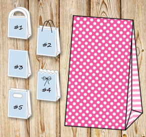 Pink gift bag with white dots and light pink stripe...  | Free printable gift bag