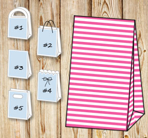 Pink and white striped gift bag  | Free printable gift bag
