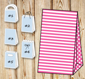 Pink and white striped gift bag with dotted sides  | Free printable gift bag