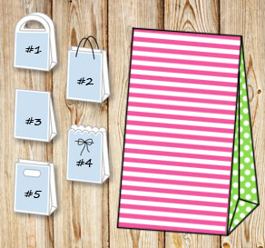 Pink and white striped gift bag with light green do...  | Free printable gift bag