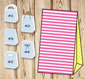 Pink and white striped gift bag with yellow dotted ...  | Free printable gift bag