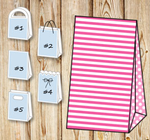 Pink and white striped gift bag with light pink dot...  | Free printable gift bag