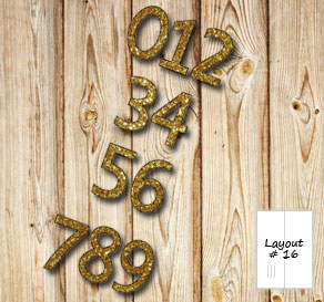 Number 0 - 9 in gold glitter  | Free printable decorations