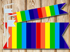Striped straw decoractions in rainbow colors  | Free printable straw decorations