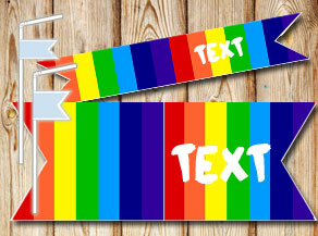 Striped straw decoractions in rainbow colors with text  | Free printable straw decorations