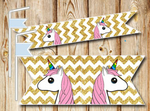 Golden chevron pattern straw decorations with unico...  | Free printable straw decorations