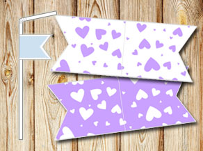 Straw decoractions with light purple hearts  | Free printable for Valentines day