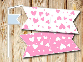 Straw decoractions with light pink hearts  | Free printable for Valentines day