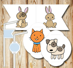 Straw decorations: Dogs, cats and bunnys  | Free printable straw decorations