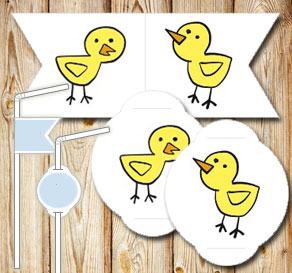 Straw decorations: Chickens  | Free printable for Easter