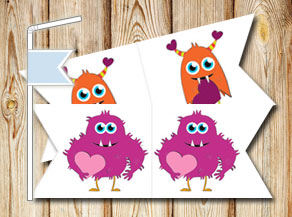 Straw decorations with cute love monsters  | Free printable straw decorations