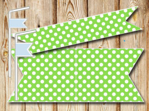 Green straw decorations with wite dots  | Free printable straw decorations