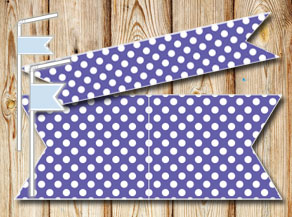Purple straw decorations with wite dots  | Free printable straw decorations
