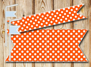 Orange straw decorations with wite dots  | Free printable straw decorations