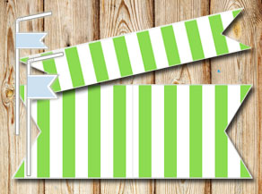 Green and white striped straw decorations  | Free printable straw decorations