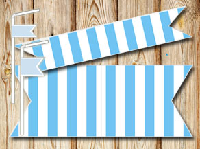 Light blue and white striped straw decorations  | Free printable straw decorations
