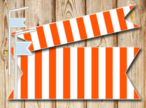 Orange and white striped straw decorations  | Free printable straw decorations