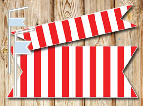 Red and white striped straw decorations  | Free printable straw decorations