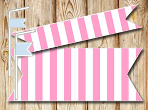 Pink and white striped straw decorations  | Free printable straw decorations