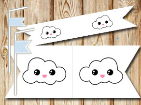 Straw decoractions with clouds  | Free printable straw decorations