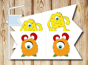 Straw decorations with cute monsters  | Free printable straw decorations