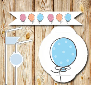 Straw decorations: Dotted balloons  | Free printable straw decorations