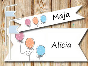 Straw decorations: Dotted balloons and text  | Free printable straw decorations