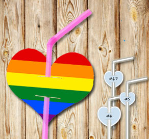 Straw decoractions with pride hearts  | Free printable straw decorations