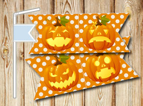 Straw decorations with Halloween pumpkins  | Free printable for Halloween