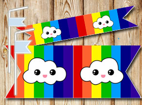 Striped straw decoractions in rainbow colors with c...  | Free printable straw decorations