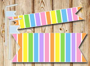 Striped straw decoractions in light rainbow colors  | Free printable straw decorations