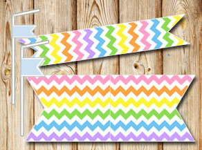 Chevron pattern straw decoractions in light rainbow...  | Free printable straw decorations