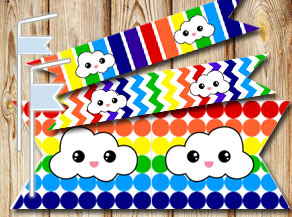 Rainbow colored straw decorations with clouds  | Free printable straw decorations