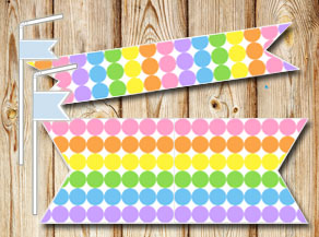 Dotted straw decoractions in light rainbow colors  | Free printable straw decorations