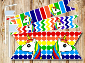 Rainbow colored straw decorations with unicorns  | Free printable straw decorations