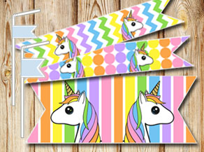 Light rainbow colored straw decorations with unicorns  | Free printable straw decorations