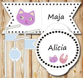 Straw decorations: Cat and bunny  | Free printable straw decorations